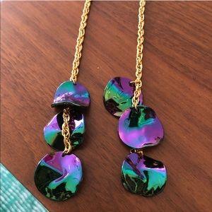 Rainbow oil slick duster earrings